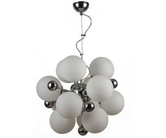 Люстра МолекулаЛюстры<br><br><br>Бренд: Ozcan<br>Цвет: Белый, Серый<br>Размеры: 60 x 60 x 85 cm<br>Материал: Металл<br>Дополнительные материалы: металл<br>Диаметр: 60<br>Дополнительная информация: для гостиной<br>Тип ламп: Накаливания<br>Мощность и вид ламп: E27 12*60W<br>Цвет стекла: Белый<br>Цвет покрытия: Хром