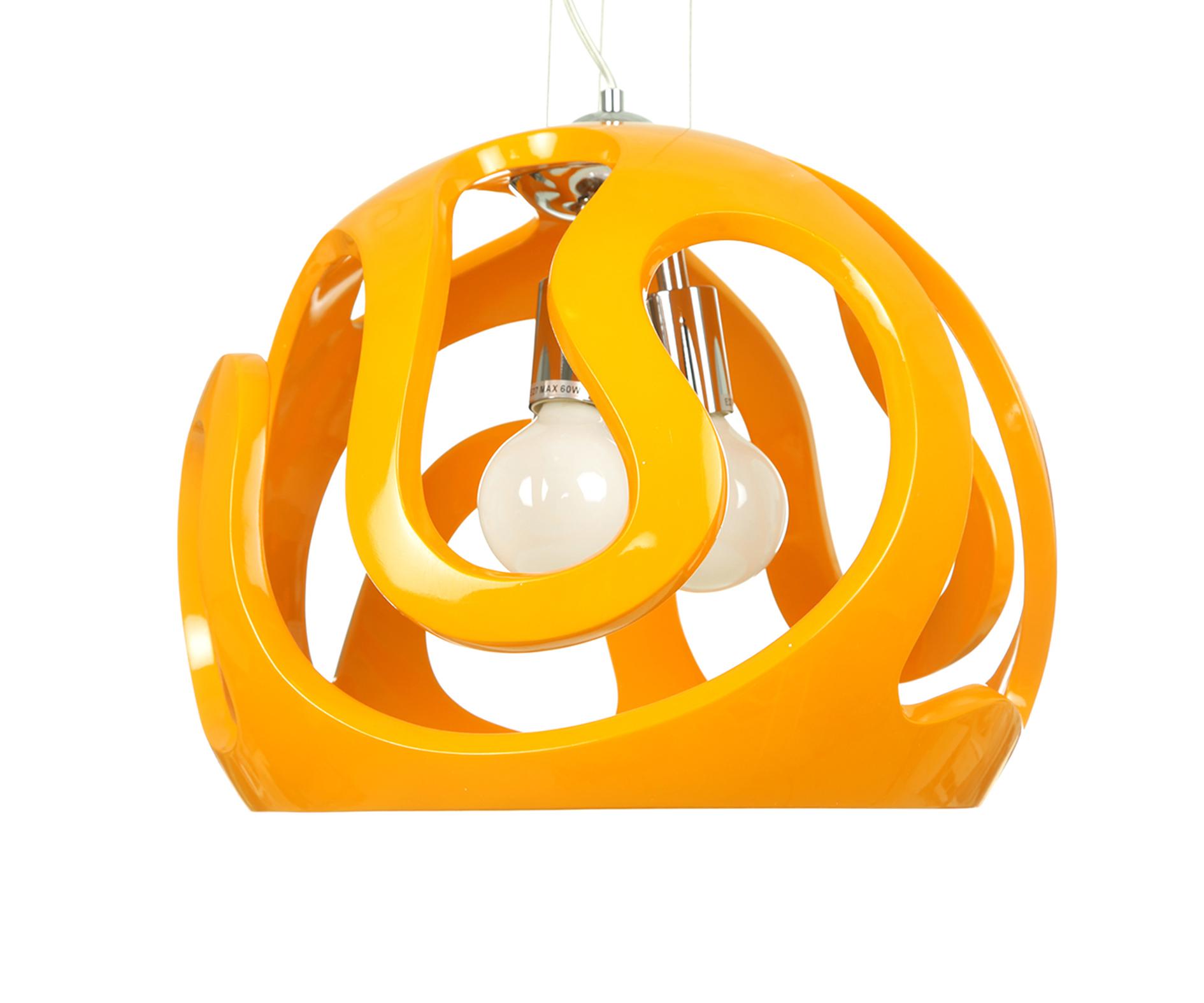 Подвесной светильник Маска, оранжевыйПотолочные светильники<br><br><br>Бренд: Ozcan<br>Цвет: Желтый, Оранжевый<br>Размеры: 40 x 40 x 100 cm<br>Материал: Пластик<br>Дополнительные материалы: акрил<br>Диаметр: 40<br>Дополнительная информация: для кухни<br>Тип ламп: Накаливания<br>Мощность и вид ламп: Е27 3*60w<br>Цвет стекла: Оранжевый<br>Цвет покрытия: Оранжевый