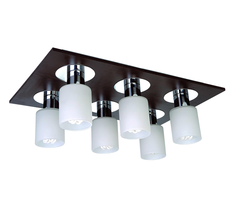 Потолочный светильник Атлас 6 ламп, темно-коричневыйПотолочные светильники<br><br><br>Бренд: Ozcan<br>Цвет: Белый, Коричневый, Темно-коричневый<br>Размеры: 53 x 33 x 17 cm<br>Тип ламп: Накаливания<br>Мощность и вид ламп: Е14 6*40w<br>Цвет стекла: Белый<br>Цвет покрытия: венге<br>Дополнительная информация: для комнаты