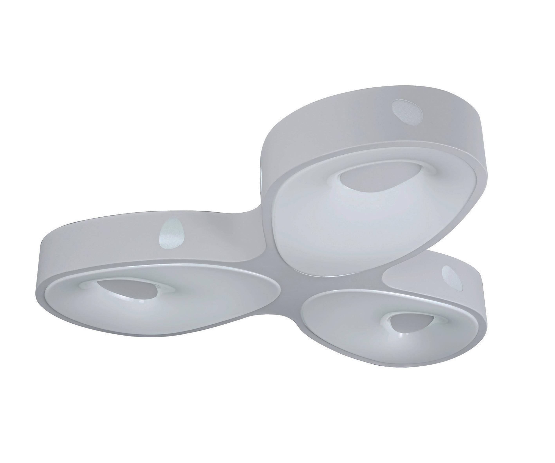 Светильник Акустик, 3 плафонаПотолочные светильники для ванной<br><br><br>Бренд: Ozcan<br>Цвет: Белый<br>Размеры: 80 x 80 x 10 cm<br>Дополнительные материалы: пластик<br>Диаметр: 80<br>Тип ламп: LED<br>Мощность и вид ламп: LED 18W<br>Цвет стекла: Белый<br>Цвет покрытия: Белый<br>Дополнительная информация: для спальни<br>Стиль: None