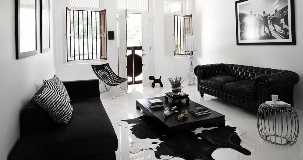 Черный диван в интерьере фото