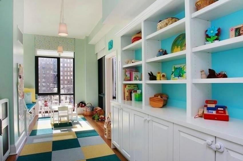 Детская в цветах: бирюзовый, серый, светло-серый, сине-зеленый. Детская в стиле американский стиль.