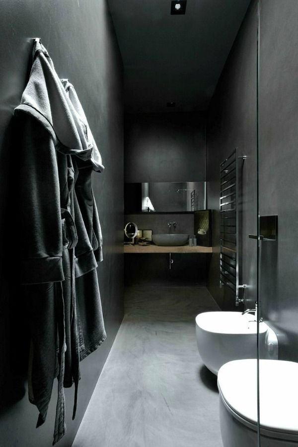 Ванная в цветах: серый, светло-серый, белый. Ванная в стиле минимализм.