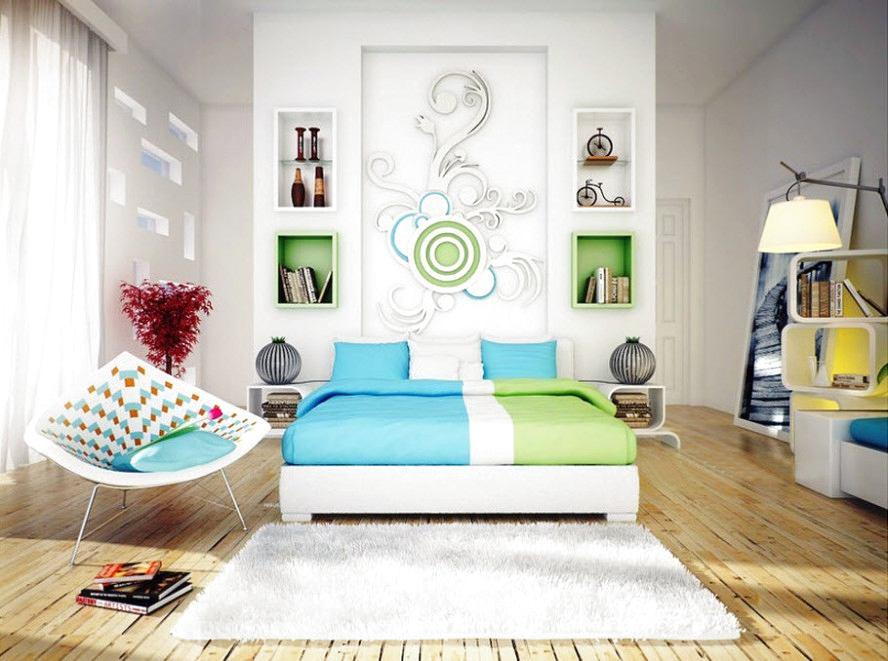 Спальня в цветах: бирюзовый, серый, светло-серый, бежевый. Спальня в стиле модерн и ар-нуво.