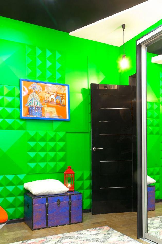 Декор в цветах: зеленый, черный, серый. Декор в стиле поп-арт.