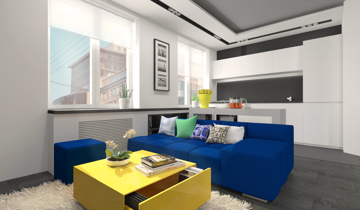 Гостиная, холл в цветах: бирюзовый, черный, серый, белый. Гостиная, холл в стиле минимализм.