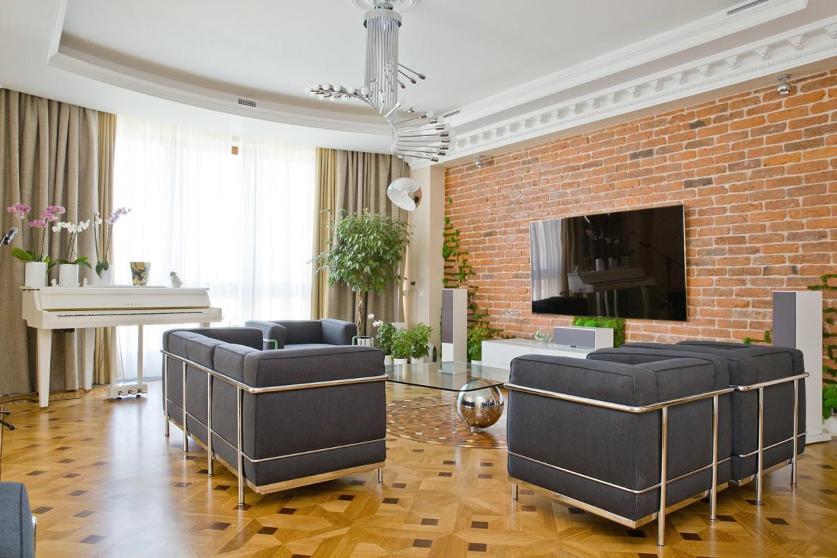 Гостиная, холл в цветах: серый, белый, коричневый, бежевый. Гостиная, холл в стиле лофт.
