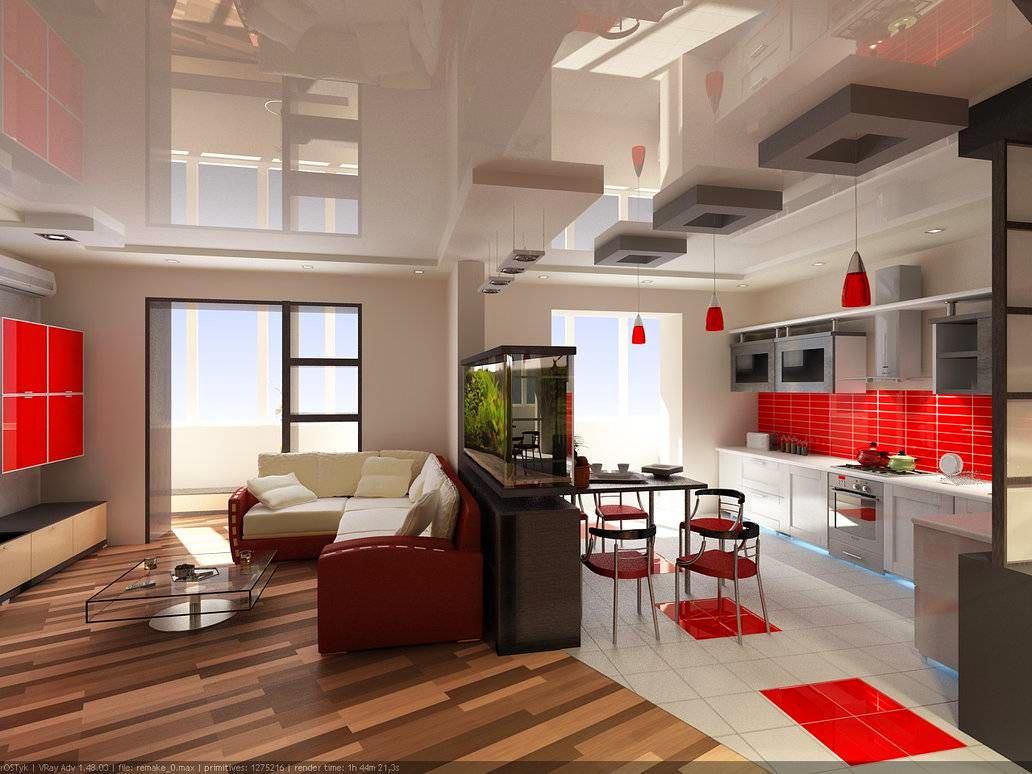 Дизайн однокомнатной квартиры с кухней-гостиной