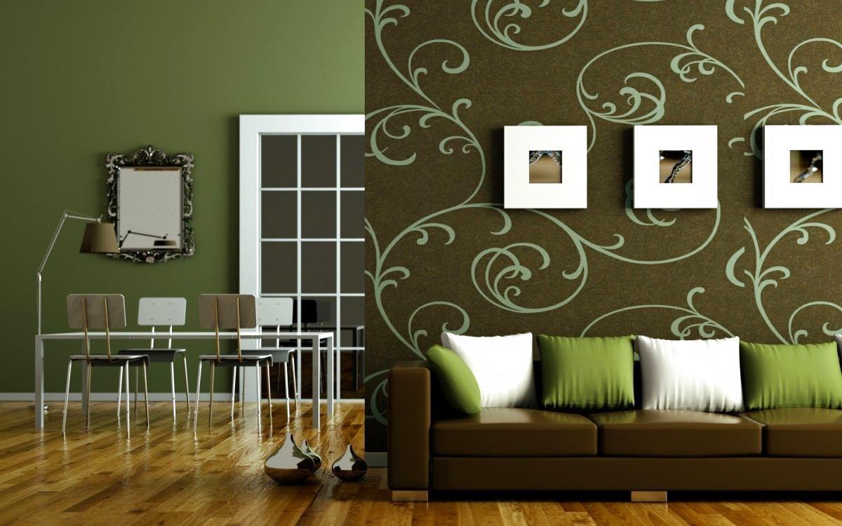 Комбинирование зеленых обоев в гостиной фото идеи