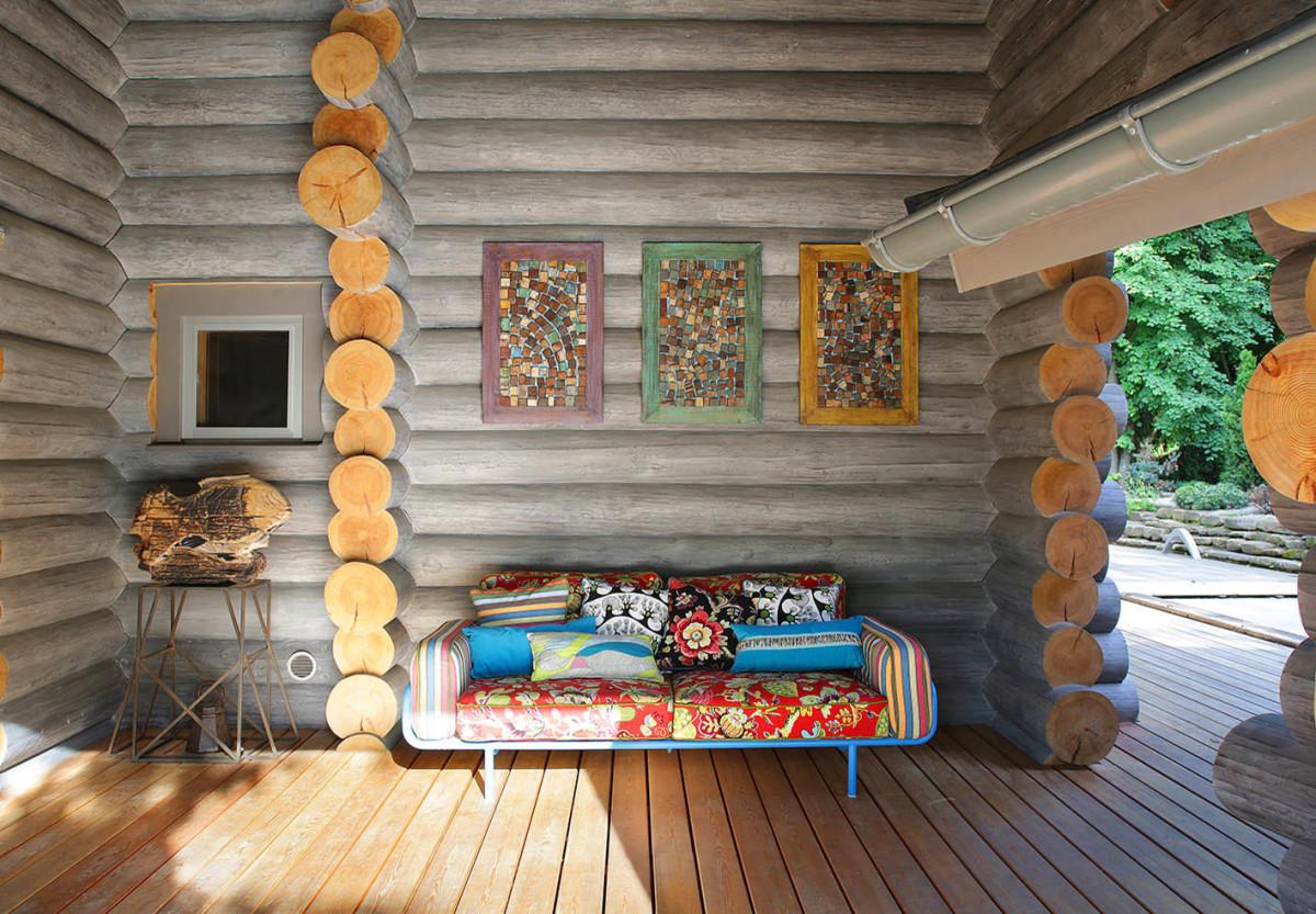 Дизайн интерьера бревенчатого дома внутри 66
