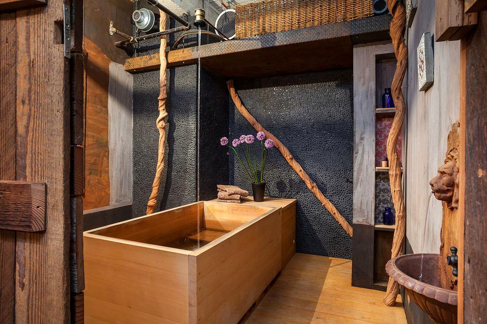 Мебель и предметы интерьера в цветах: черный, темно-коричневый, коричневый, бежевый. Мебель и предметы интерьера в стилях: лофт.