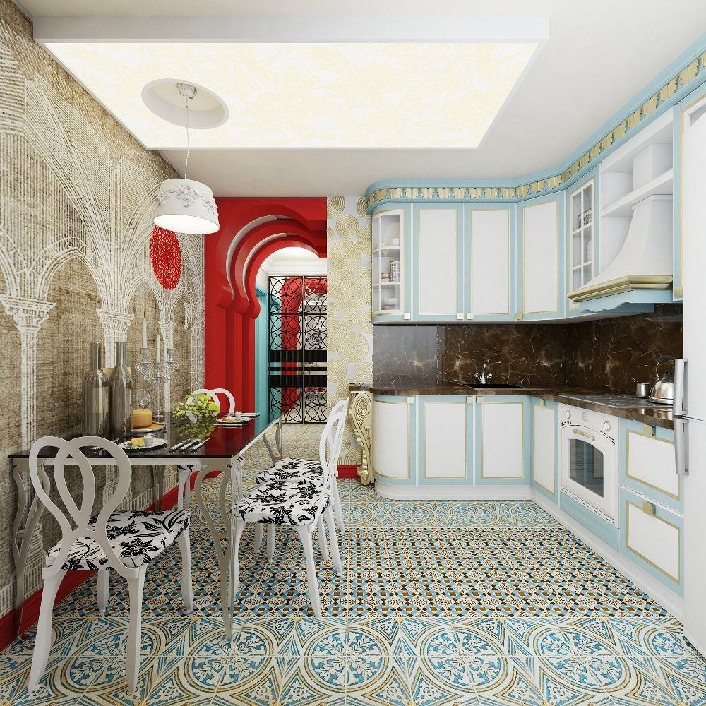 Кухня в цветах: серый, светло-серый, белый. Кухня в стилях: ближневосточные стили, эклектика.
