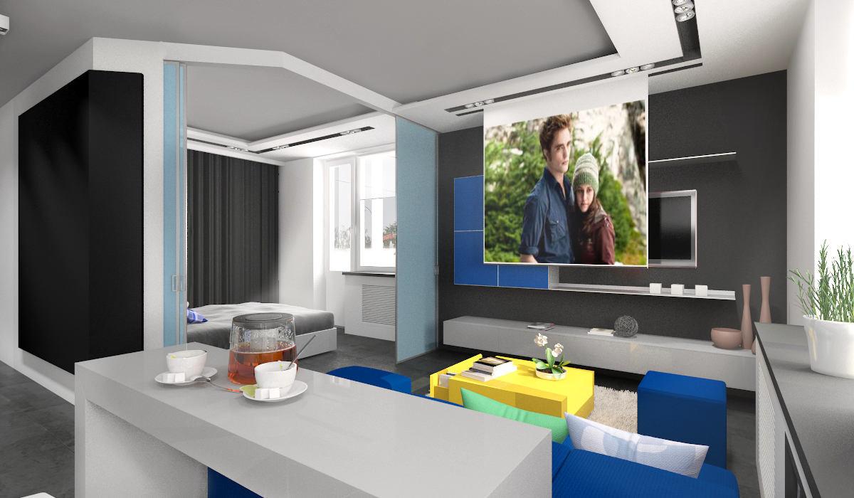 Мебель и предметы интерьера в цветах: бирюзовый, черный, серый, светло-серый, белый. Мебель и предметы интерьера в стиле минимализм.