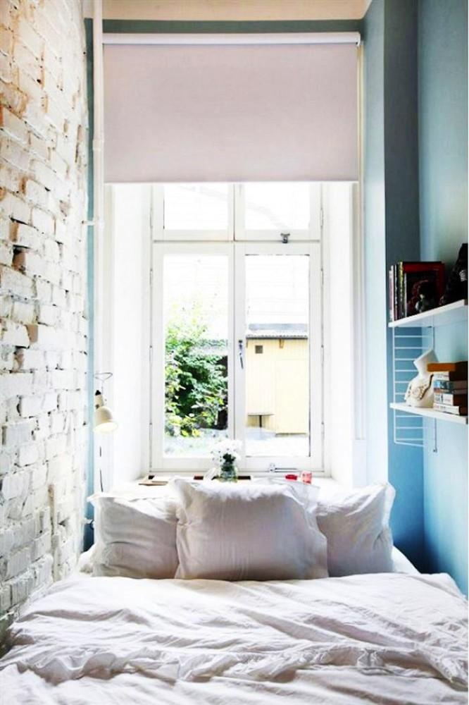 Спальня в цветах: бирюзовый, черный, серый, белый. Спальня в стилях: минимализм.