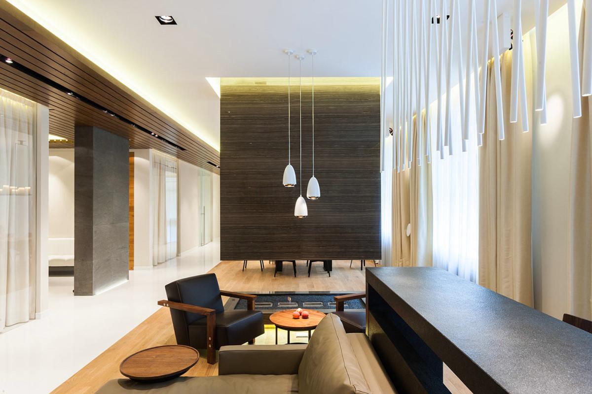 Гостиная, холл в цветах: черный, серый, светло-серый, белый, коричневый. Гостиная, холл в стиле минимализм.
