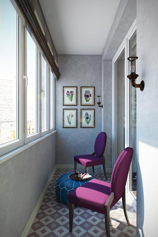 Фиолетовый диван, небесные стены и синяя детская: квартира с.
