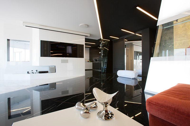 Гостиная, холл в цветах: черный, светло-серый, белый. Гостиная, холл в .