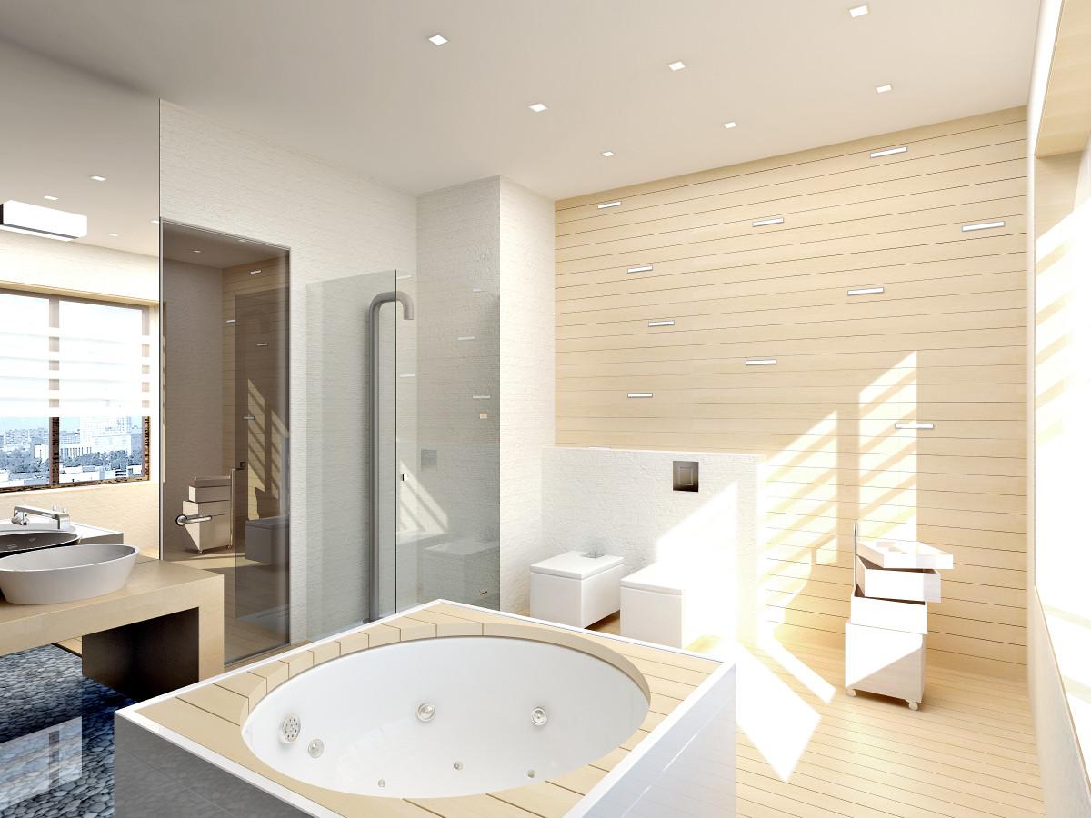 Ванная в  цветах:   Бежевый, Белый, Светло-серый, Серый.  Ванная в  стиле:   Хай-тек.