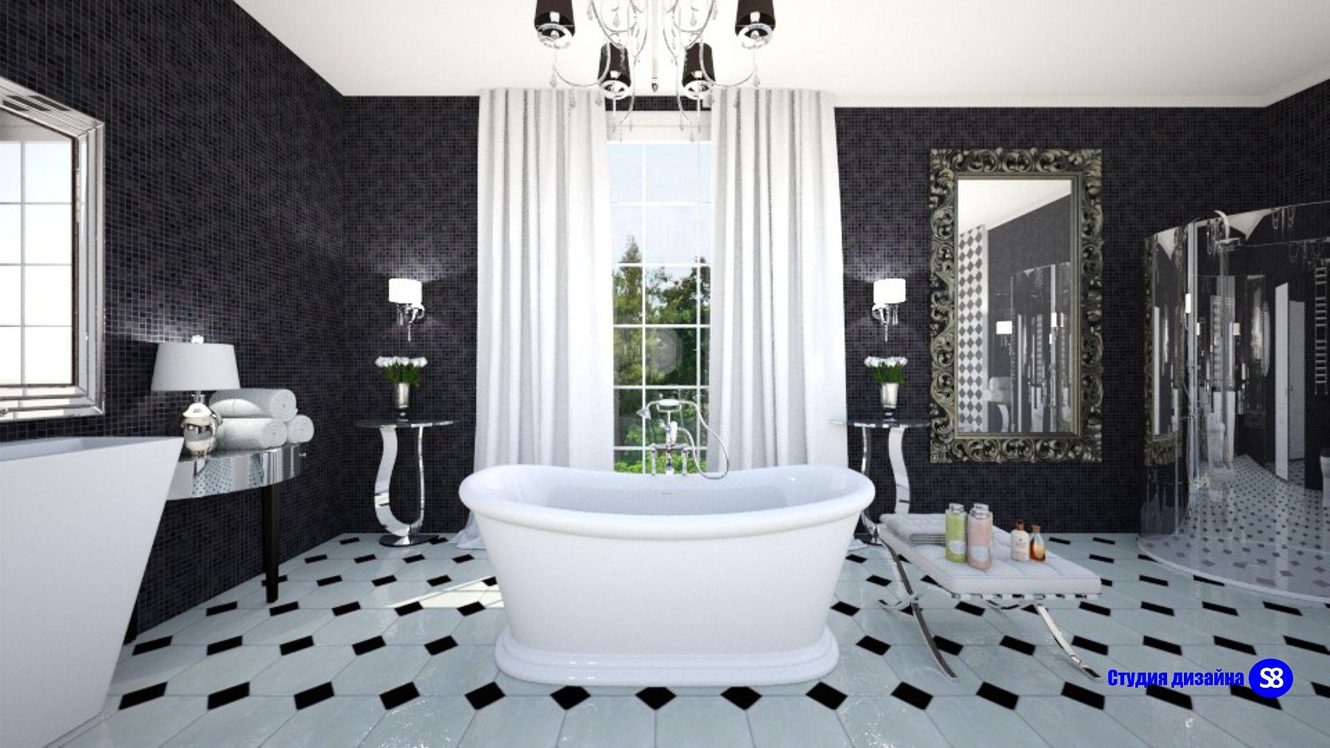 Фото дизайна ванной комнаты в стиле арт