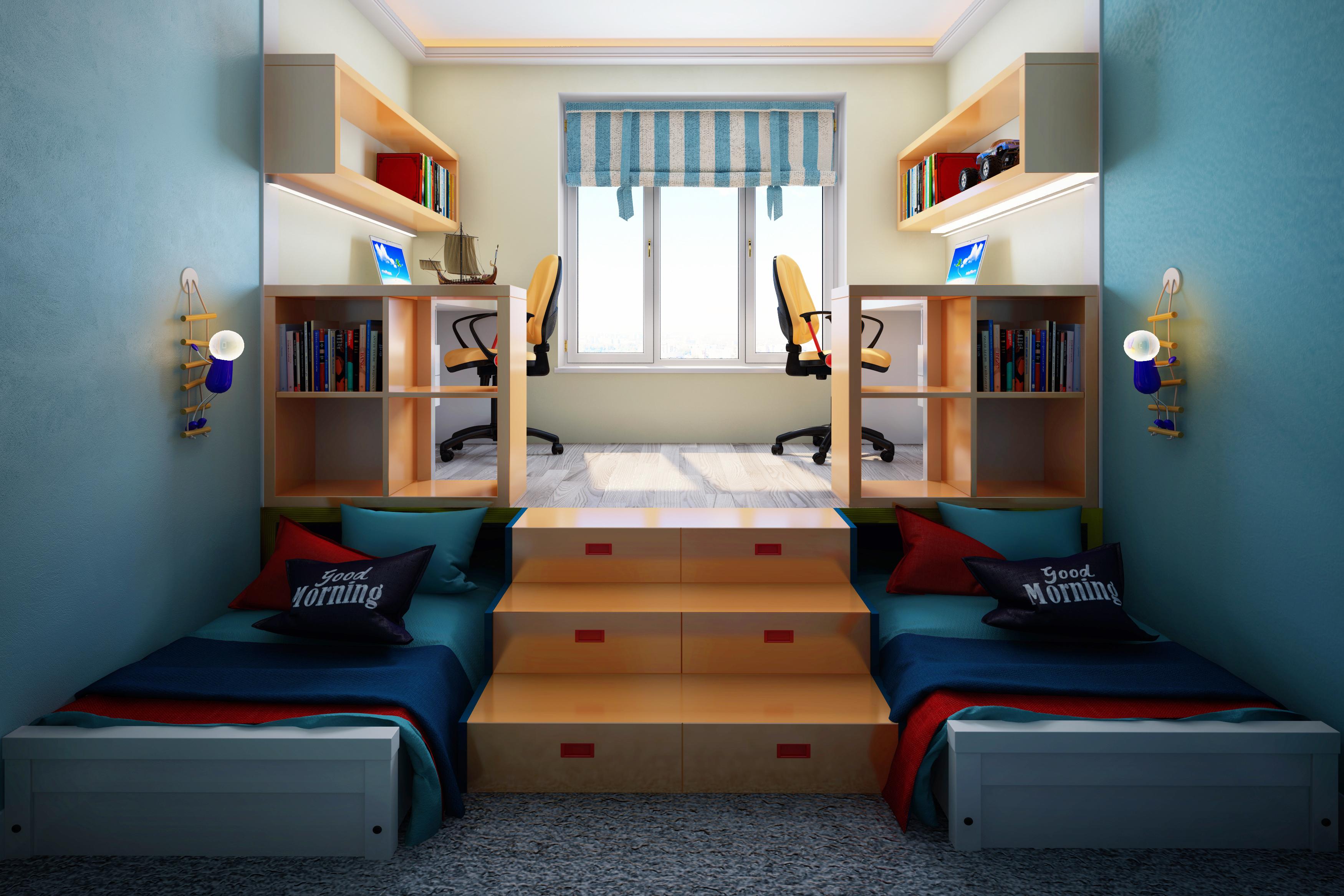 Дизайн комнаты для двоих детей подростков фото